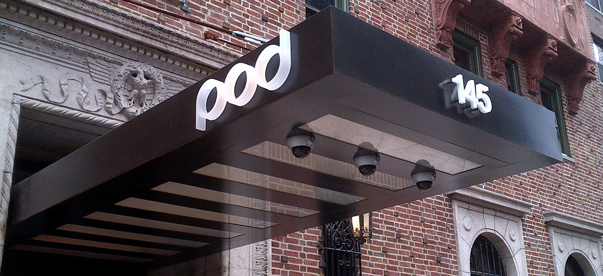 POD-HOTEL-NYC-BLACKEND-STEEL-CANOPY-WITH-ILLUMINATED- & Hotel Marquee - Sign Select