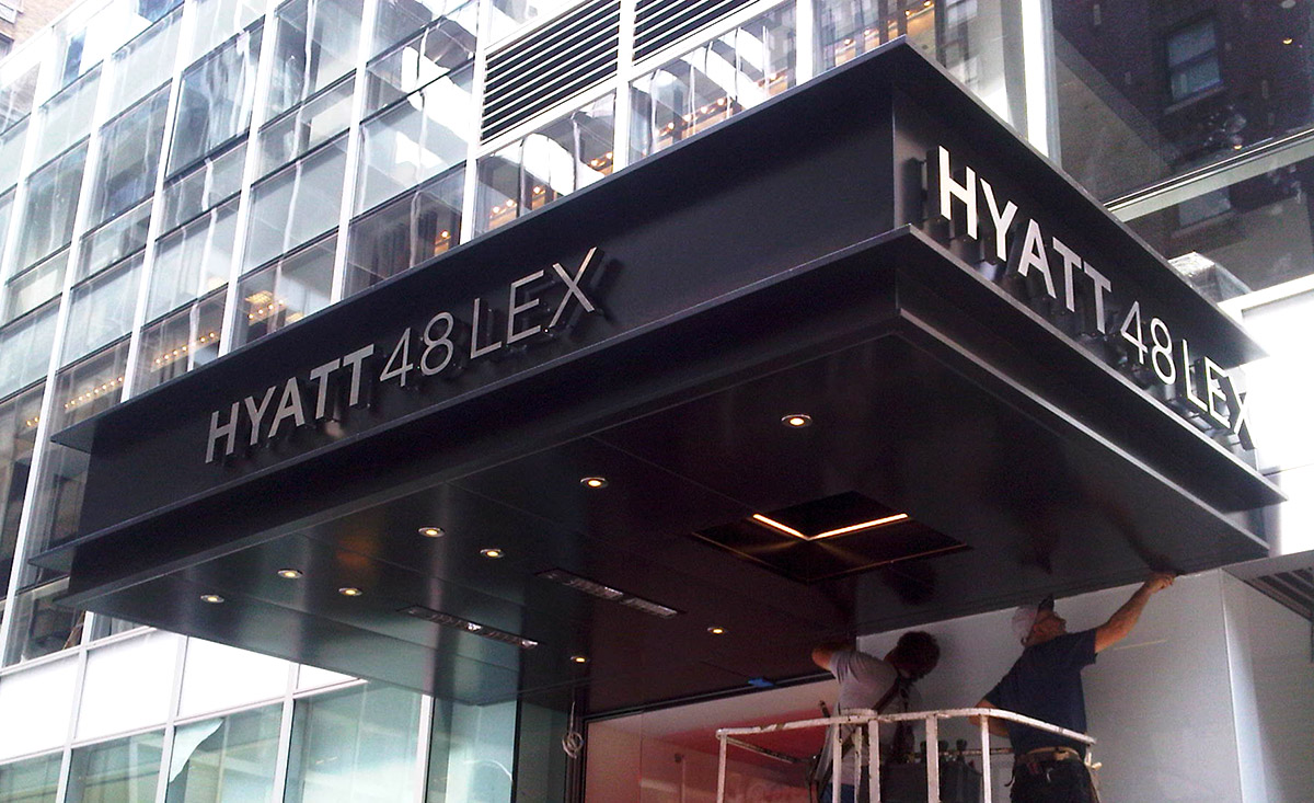 HYATT-HOTEL-48-LEX-ALUMINUM-CANOPY-WITH-BACKLIT-STAINLESS-STEEL-LETTERS